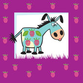 Cute fruity donkey — Stock Vector