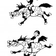 Little girl and boy pony riders black and white image — Stock Vector