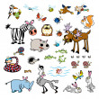 图库矢量图片: Vector set of cartoon wild animals