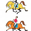 Stock Vector: Cartoon man and woman horse riders