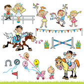 Vector set with children riders competition — Stock Vector