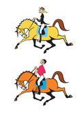 Cartoon man and woman horse riders — Stock Vector