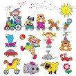 Vector set of simple picture with toys - Stock Vector