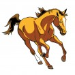 Royalty-Free Stock Vector Image: Running brown horse isolated on white