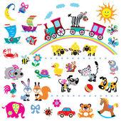 векторный набор простых детские фотографии — Cтоковый вектор