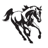 Running horse black and white image — Stock Vector