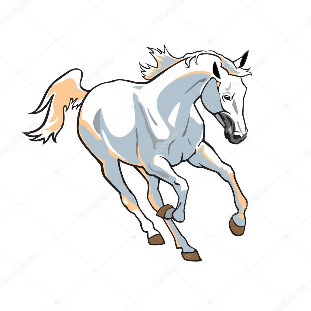 Рисованные лошади белые