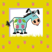 Cute fruity donkey on green — Stock Vector