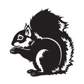 Black and white sitting squirrel — Vector de stock