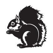Czarno-białe siedzący wiewiórka — Wektor stockowy