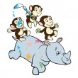 Three cartoon monkeys and rhino — Stock Vector