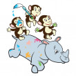 Stock Vector: Three cartoon monkeys and rhino
