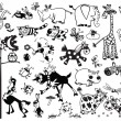 Monochrome set with cartoon animals — Stock Vector