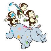 Three cartoon monkeys and rhino — Stock Vector