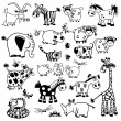 Stock Vector: Set with black and white childish animals