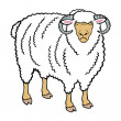 Standing ram isolated on white - Stock Vector