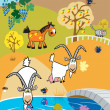 Childish landscape with goats and horse - Stock Vector