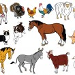 Set of farm animals isolated on white - Stock Vector