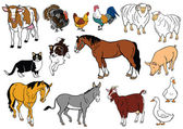 Set of farm animals isolated on white — Stock Vector