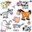 Stock Vector: Set with cartoon farm animals