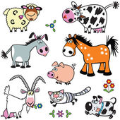 Set with cartoon farm animals — Stock Vector