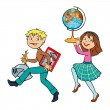 Boy and girl in history lesson — Imagen vectorial