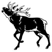 Red deer black and white — Stock Vector