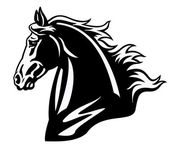 Horse head black and white profile — Stock Vector