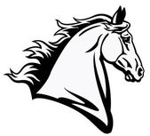 Horse head black and white — Stock Vector