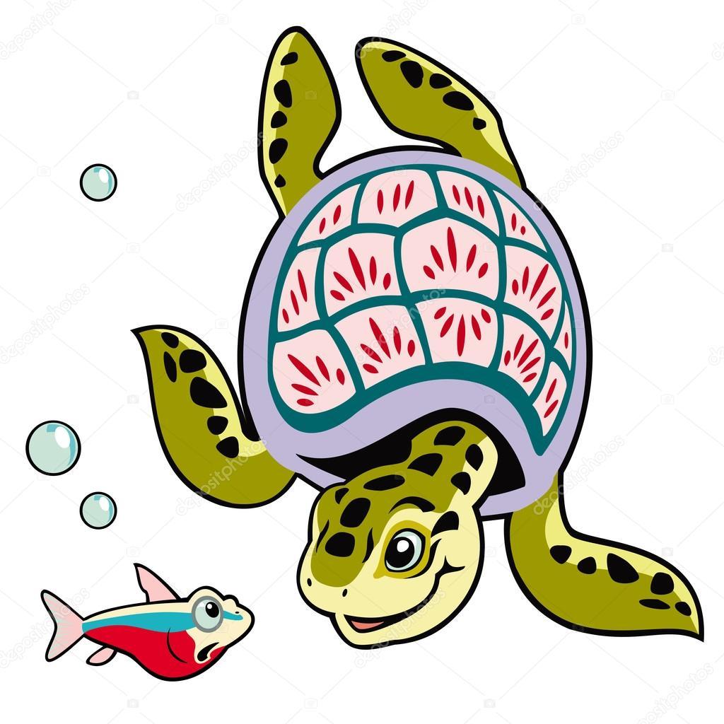 龟鱼, 卡通乌龟, 海洋动物,为小朋友孤立在白色的背景,儿童插画,图片