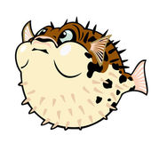Cartoon puffer fish — Stock Vector