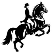 Dressage rider black and white — Stock Vector