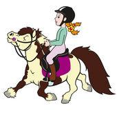 Girl riding pony — Stock Vector