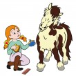 Girl grooming pony — Stock Vector