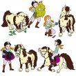 Set with girl and pony — Stock Vector