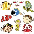 Set with cartoon fishes - Stock Vector