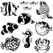 Set with fishes black and white — Stock Vector