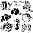 Stock Vector: Set with fishes black and white