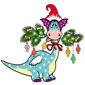 Cartoon christmas dragon — Stock Vector