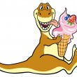 Dinosaur eating ice cream — Stock Vector
