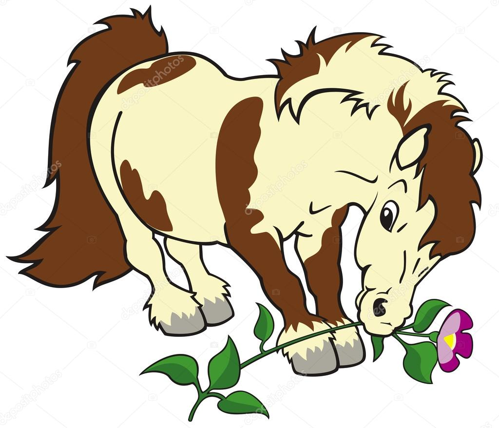 Pony di cartone animato con fiore — vettoriali stock