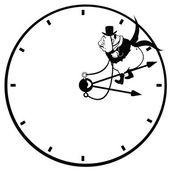 Uhr mit kaufmann — Stockvektor