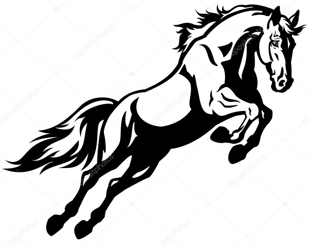 springenden pferd schwarz wei stockvektor insima. Black Bedroom Furniture Sets. Home Design Ideas