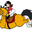 Rider girl with pony — Stock Vector