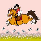 Dziewczyna rider z motyle — Wektor stockowy