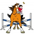 Cartoon horse showjumping - Stock Vector