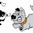 Stock Vector: Dog and cat fighting