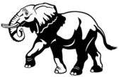 Elephant black white — Stock Vector