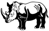 Rhinoceros black white — Stock Vector