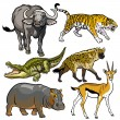 Set with wild africanimals — Stock Vector #20046979